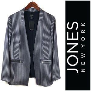 Jones NY Open Front striped Blazer W/ Pockets 12